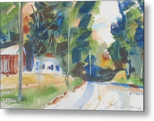 Landscape Metal Print featuring the painting Old Slocum Road by JULES Buffington