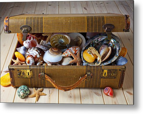 Suitcase Full Sea Shells Travel Metal Print featuring the photograph Old Suitcase Full Of Sea Shells by Garry Gay
