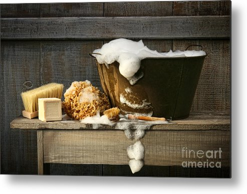 Antique Metal Print featuring the photograph Old Wash Tub With Soap On Bench by Sandra Cunningham