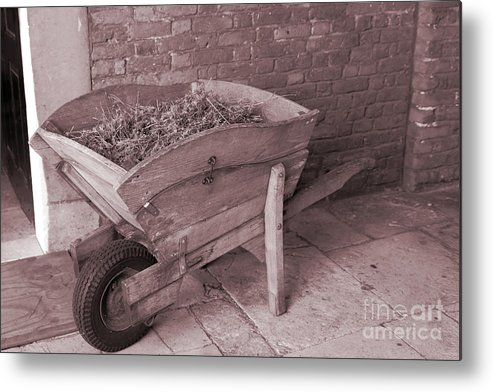 Wooden Barrow Metal Print featuring the photograph Old Wooden Wheelbarrow by Kevin Richardson