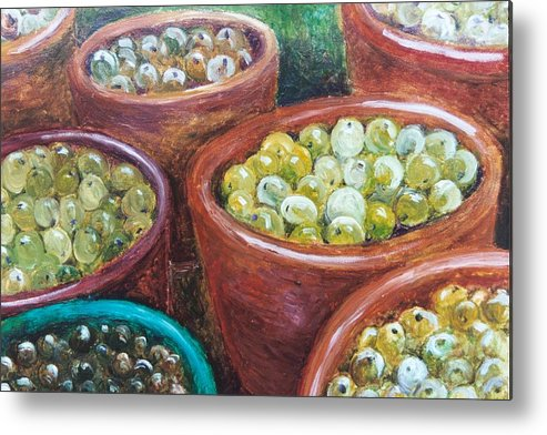 Olives Metal Print featuring the painting Olives By The Crock by Jun Jamosmos