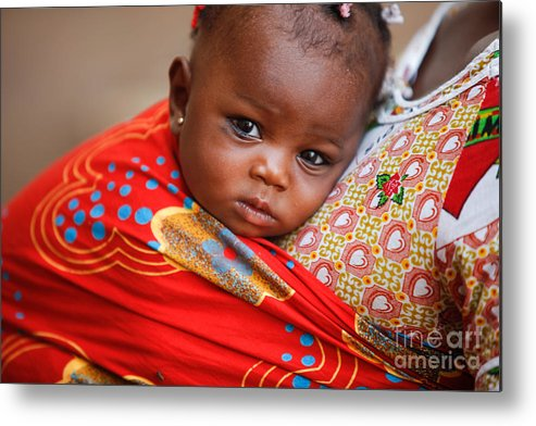 African Metal Print featuring the photograph On Mommy's Back by Irene Abdou
