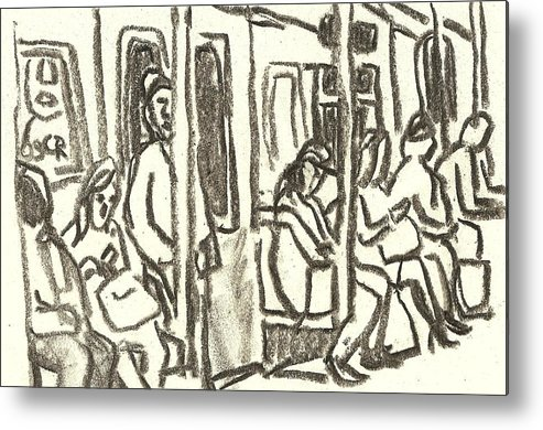 Subway Metal Print featuring the drawing On The C Train, Nyc by Thor Wickstrom