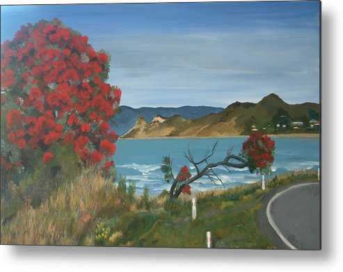 Coastal Landscape Native Tree Wainui Beach Iconic Surf Vibrant New Zealand Pohutukawa Tree Flora Metal Print featuring the painting On The Edge by Sher Green