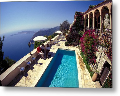 Swimming Pool Metal Print featuring the photograph On The French Riviera by Carl Purcell