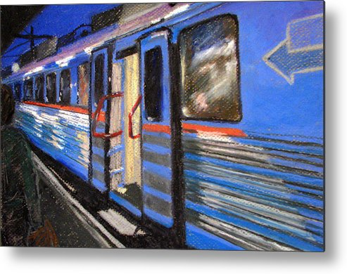 Train Metal Print featuring the painting On The Platform by Art Nomad Sandra Hansen