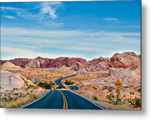 Landscape Metal Print featuring the photograph On The Road - Valley Of Fire by Carl Jackson