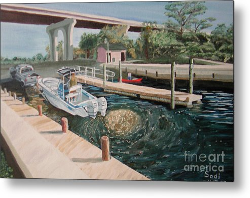 Landscape Metal Print featuring the painting One Goes Fishing by Sodi Griffin