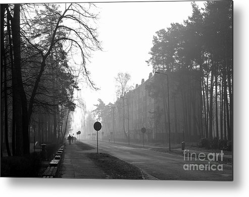 B&w Metal Print featuring the photograph One Morning by Piotr Loza