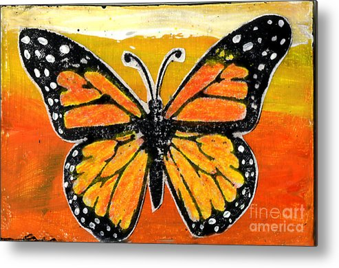 Monarch Metal Print featuring the painting Orange Monarch by Genevieve Esson