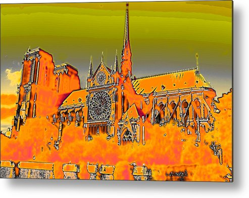Church Metal Print featuring the photograph Orange Version Of Notre Dame by Carl Purcell