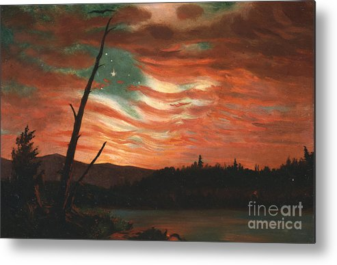 Our Metal Print featuring the painting Our Banner In The Sky by Frederic Edwin Church