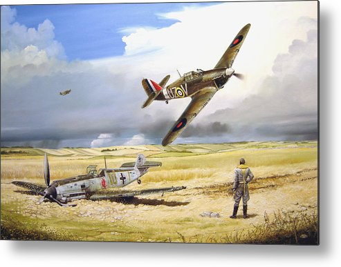 Painting Metal Print featuring the painting Outgunned by Marc Stewart