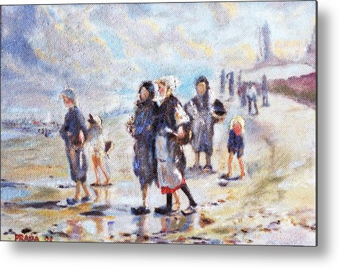 Oil Metal Print featuring the painting Oyster Gatheres Of Cancale by Horacio Prada