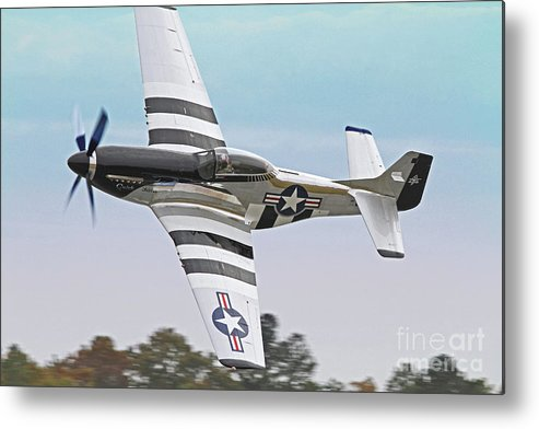Fighter Metal Print featuring the photograph P51 Mustang Fighter Aircraft by Kevin McCarthy