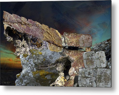 Fantasy Metal Print featuring the digital art Painted Cliff by Helga Schmitt