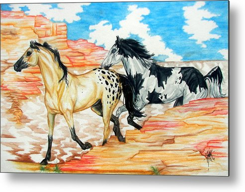 Horse Metal Print featuring the painting Painted Desert by Monica Turner