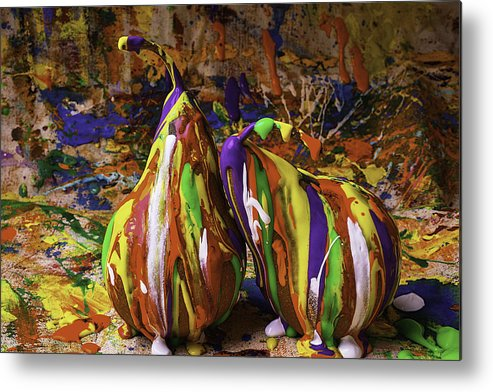 Painted Metal Print featuring the photograph Painted Pears by Garry Gay