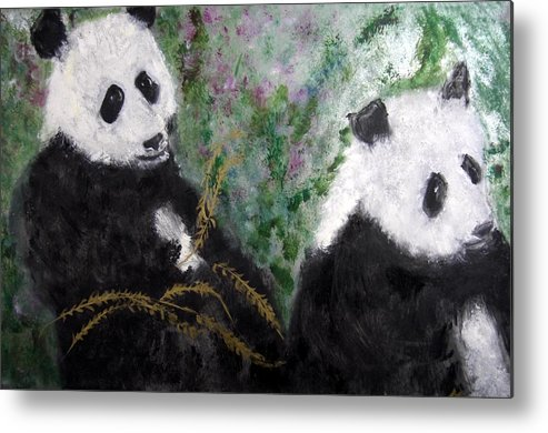 Animal Metal Print featuring the painting Pandas With Golden Bamboo by Michela Akers