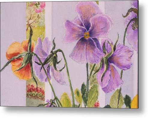 Florals Metal Print featuring the painting Pansies On My Porch by Mary Ellen Mueller Legault