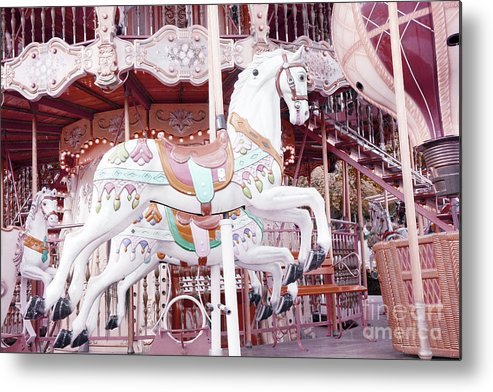 Paris Merry Go Round Carousel Metal Print featuring the photograph Paris Carousel Horses - Shabby Chic Paris Carousel Horse Merry Go Round by Kathy Fornal