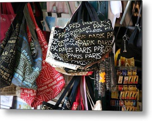 Paris Metal Print featuring the photograph Paris Handbags Assorted Colors by Chuck Kuhn