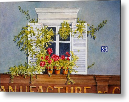 France Metal Print featuring the painting Parisian Window by Mary Ellen Mueller Legault