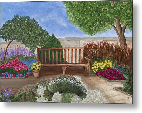 Garden Canvas Prints Metal Print featuring the painting Park Bench In A Garden by Patty Vicknair