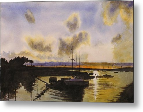 Silhouette Of Boats And Sunset Metal Print featuring the painting Parker's Boatyard II by Joseph Stevenson