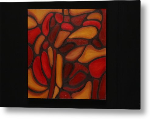 Abstract Metal Print featuring the painting Pattern 1 by Mary Silver