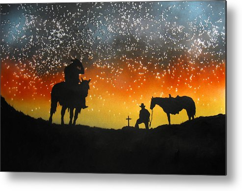 Silouette Metal Print featuring the painting Paying Our Respects by Ed Moore