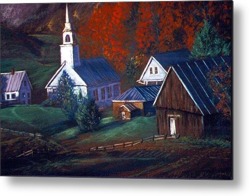 Church Metal Print featuring the pastel Peaceful Dwellings by Tommy Winn