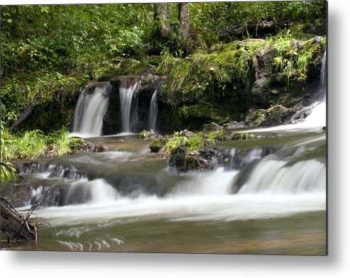 Water Metal Print featuring the photograph Peaceful Waterfall by Tina B Hamilton