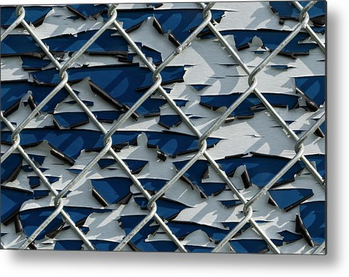 Background Metal Print featuring the photograph Pealing Paint Fence Abstract 1 by John Brueske