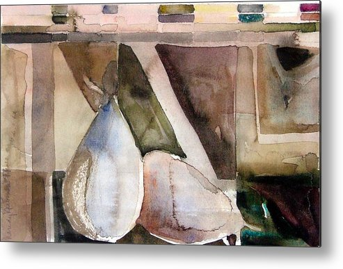 Pear Metal Print featuring the painting Pear Study In Watercolor by Mindy Newman