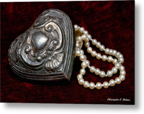 Pewter Metal Print featuring the photograph Pearls From The Heart by Christopher Holmes