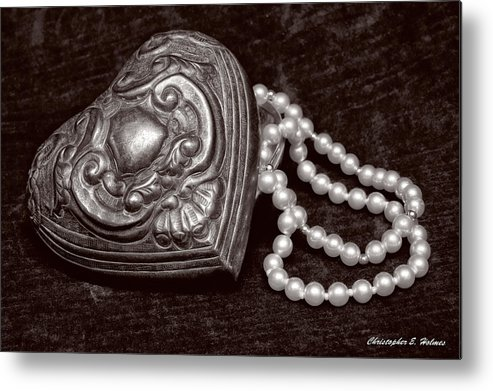 Pewter Metal Print featuring the photograph Pearls From The Heart - Sepia by Christopher Holmes