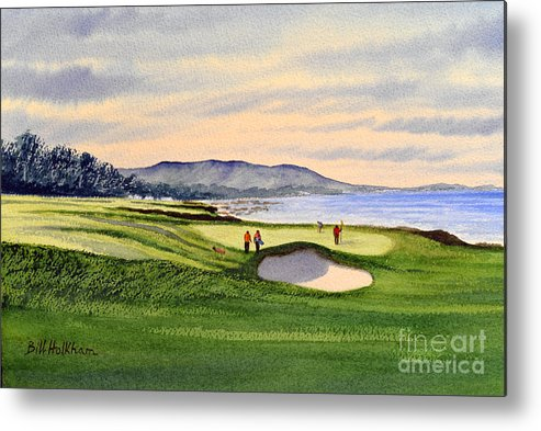 Golf Metal Print featuring the painting Pebble Beach Golf Course by Bill Holkham