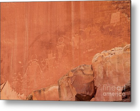 Petroglyphs Metal Print featuring the photograph Petroglyphs In Capital Reef by Cindy Murphy - NightVisions