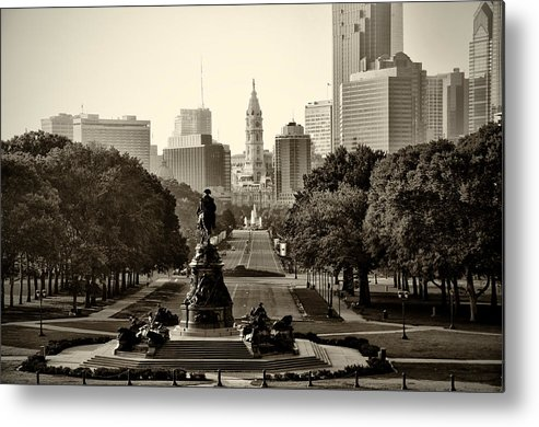 Philadelphia Metal Print featuring the photograph Philadelphia Benjamin Franklin Parkway In Sepia by Bill Cannon
