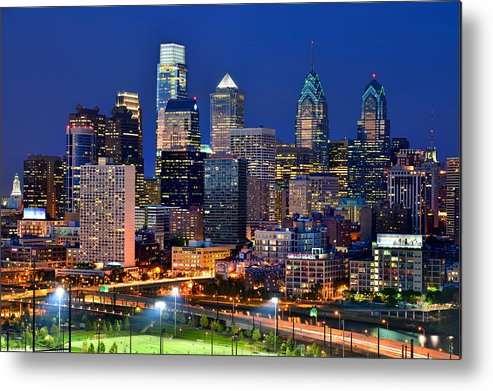 Philadelphia Skyline At Dusk Metal Print featuring the photograph Philadelphia Skyline At Night by Jon Holiday