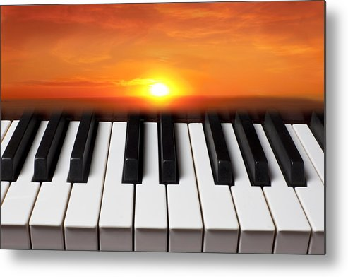 Piano Keys Metal Print featuring the photograph Piano Sunset by Garry Gay