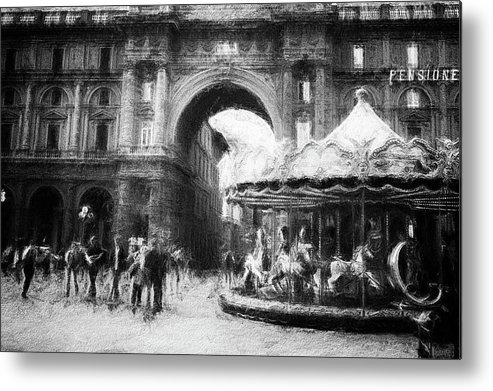 People Metal Print featuring the photograph Piazza Della Repubblica Florence by Frank Andree