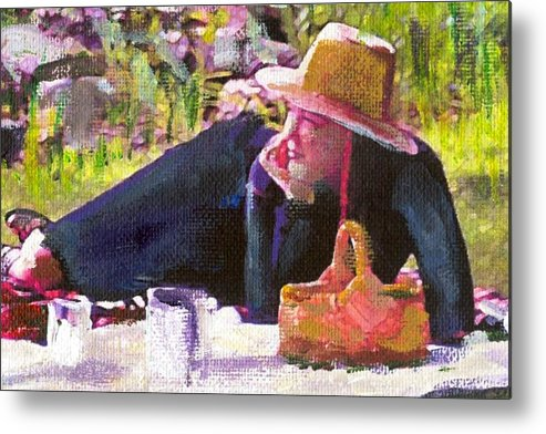 Metal Print featuring the painting Picnic By The Lake With Laurel by Randy Sprout