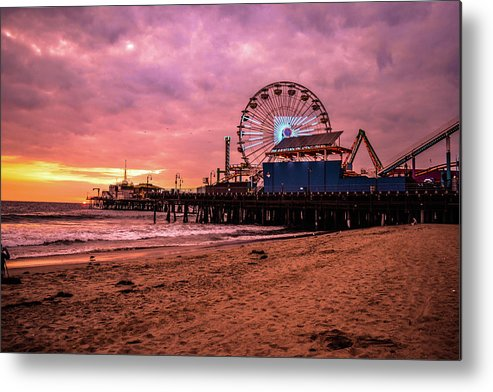 Beach Santa Monica Pier Metal Print featuring the photograph Pier by Faraz Ahmed