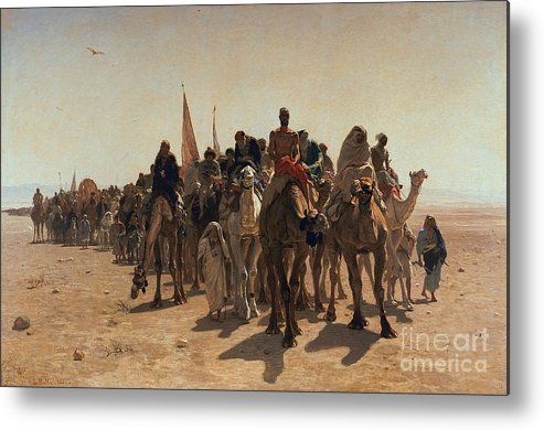 Pilgrims Metal Print featuring the painting Pilgrims Going To Mecca by Leon Auguste Adolphe Belly