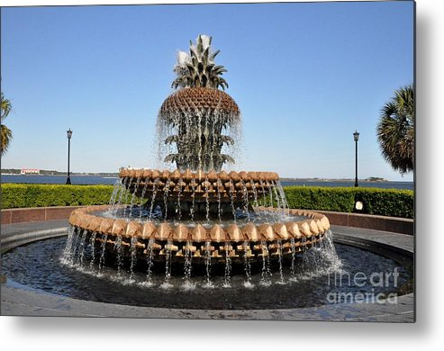 Pineapple Metal Print featuring the photograph Pineapple Fountain In The Park by John Black