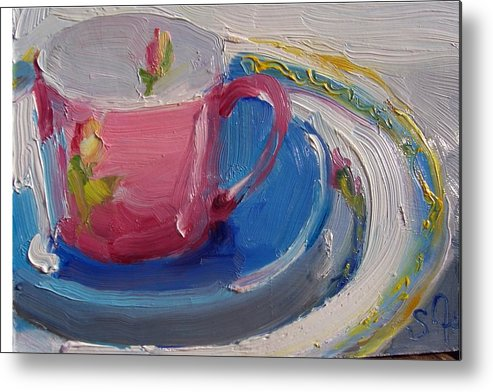 Still Life Metal Print featuring the painting Pink Cup by Susan Jenkins