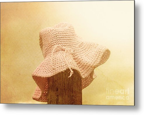 Farm Metal Print featuring the photograph Pink Girls Hat On Farmyard Fence Post by Jorgo Photography - Wall Art Gallery