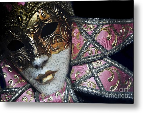Black Metal Print featuring the photograph Pink Mask by Oscar Gutierrez